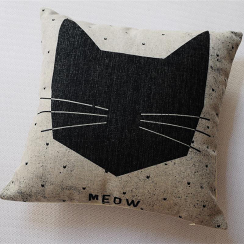 Frete grátis ~ branco preto clássico do vintage dos desenhos animados almofada 2 pcs gato e cão travesseiro almofadas de linho define Atacado!(China (Mainland))