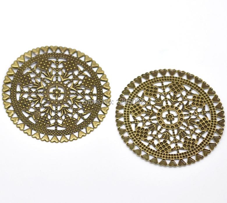 300Pcs Metal Wraps Connectors Round Hollow Heart Filigree Bronze Tone Embellishments 6cm<br><br>Aliexpress