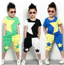 2015 NEW children clothing set stars boys set baby sets short t shirt+pants 2 pcs set clothes kids suit 2-7Years Free shipping(China (Mainland))