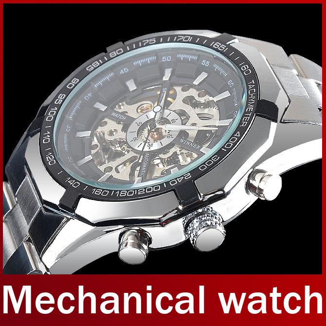2015 Famous Brand Winner Stainless Steel Automatic Self Wind Skeleton Mechanical Men Full Steel Watch For
