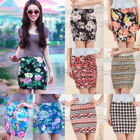 New Arrival Women's Short Pencil Skirt w/ Leopard Flower Print Fashion Mini Skirt 9Color SV24 SV001799(China (Mainland))