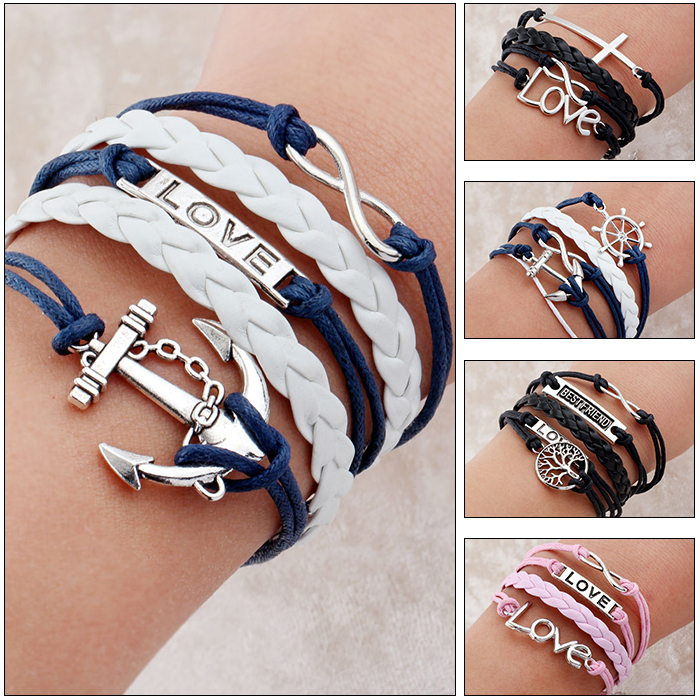 2014 Promotion Discount Steampunk Bradided Wax Cords Love Anchor Owl Hungry Games Charms bracelets & Bangles man and women(China (Mainland))
