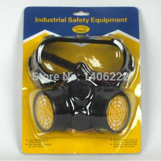 Гаджет  Industrial Gas Chemical Anti-Dust Spray Paint Respirator Face Mask Filter + Eye Glasses Goggles Set Free Shipping Twin Cartridge None Безопасность и защита