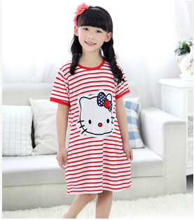 2015 Promotion Summer Kid's Nightgown Polka Sleepwear Child Girl Nightdress Cotton Cartoon Sleepshirt Pajama Dress Free Shipping(China (Mainland))
