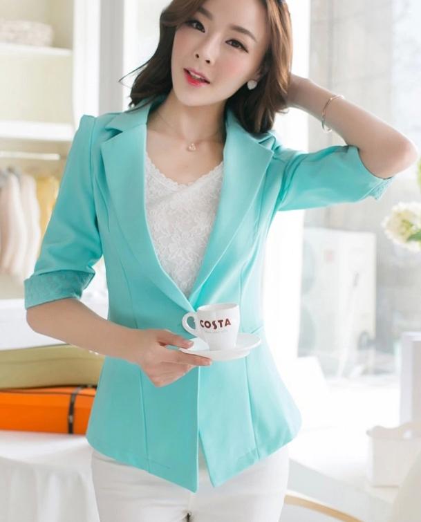 Женщины в короткая дизайн блейзеры приталенный пиджак пятый рукав тонкий