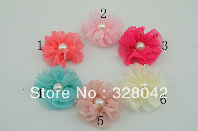 Trail order 2'' vintage chiffon flower with Pearl for girls headband flower DIY Photography props 24pcs/lot