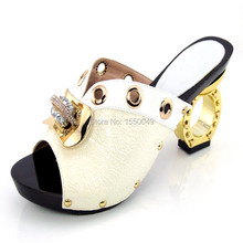 white Fashion Italian Matching Shoe  With Rhinestone Upscale African High Heels Shoes With Matchign  YK-1516