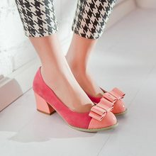 Fashion Patchwork Thick Heel Women Pumps Sexy High Heels Shoes Woman Low shoes round toe Ladies Office Heels Single shoes V768(China (Mainland))