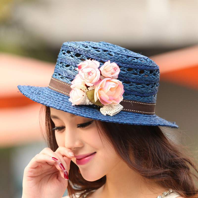 2015 spring and summer new European and American fashion tide hat lady hat sun hat flat-topped straw hat wholesale hollow weave(China (Mainland))