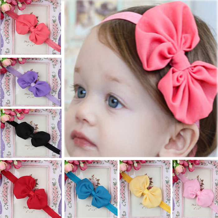 Cute Kids Girls Baby Toddler Infant Bowknot Headband Hair Bow Band Accessories(China (Mainland))