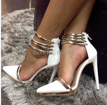 white leather high heels pumps with gold ring fashion wedding shoes for women 2015(China (Mainland))