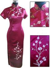 Top Sale Burgundy Chinese Female Silk Cheongsam Long Slim Qipao Top Embroidery Flower Senior Dress Size S M L XL XXL XXXL S039-E