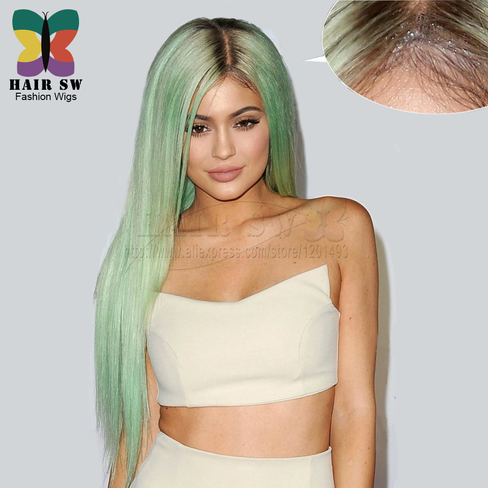 HAIR SW Long Straight Heat Resistant Kylie Jenner Synthetic Lace Fron Wig Ombre Mint Green With Dark Brown Glue-less for women(China (Mainland))