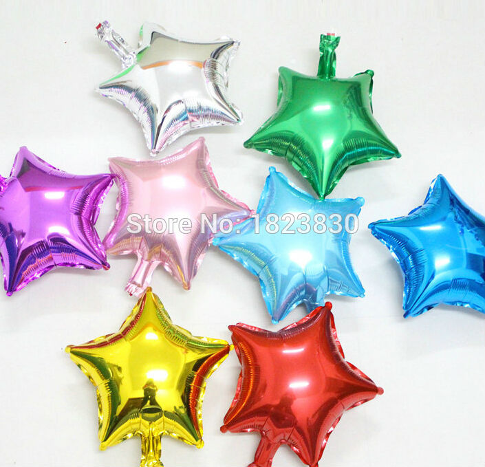 hot selling 10 inch 50pcs/lot colorful heart star foil balloons ,wedding party decoration Pure color helium ballons air balls <br><br>Aliexpress