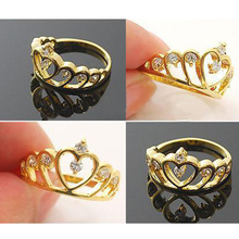 Hollow out Rhinestone Crown Finger Rings Women Popular Girls Decoration Rings Jewelry FYMHM267 Y5