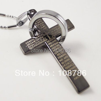 10pcs/lot necklace stainless steel best selling steel cross&circle style pendant cheap promotion wholesale