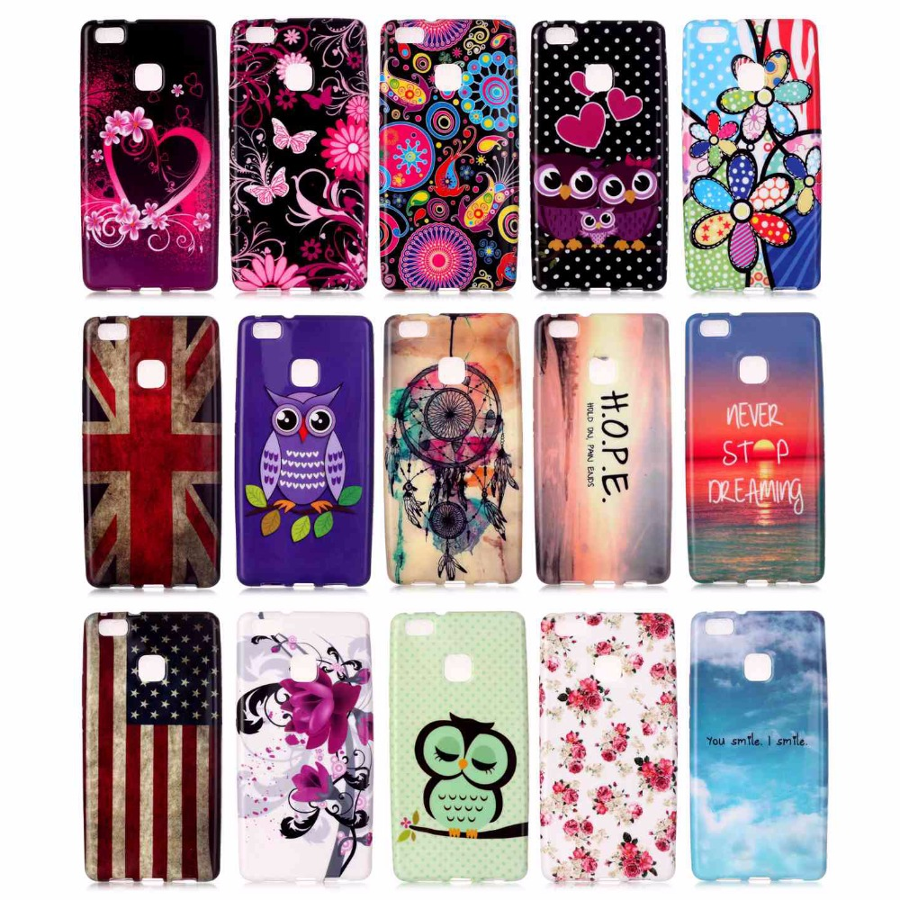 Huawei P9 Lite Case Soft Silicon Vintage Pattern Smooth Bright Color Protective Phone Covers P9Lite + Screen Film  -  Z & STORE store