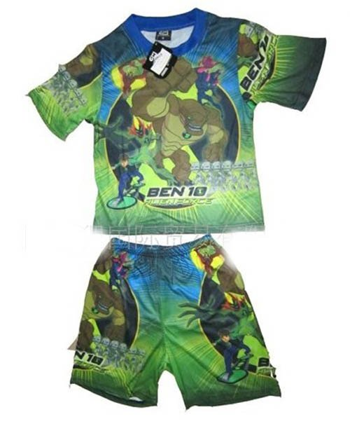 Free Shipping +New supply in summer 2011 BEN10 series of boy children suits, children T shirt(China (Mainland))