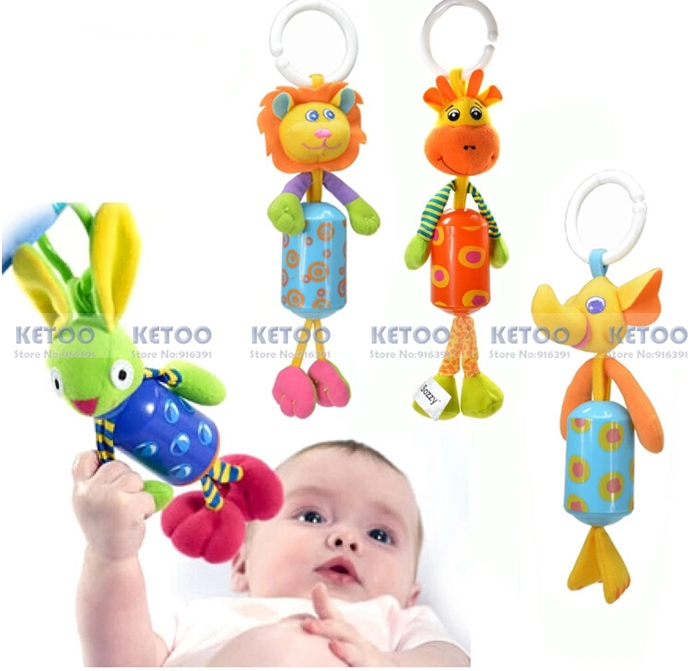 Baby hand bell Rattles windbells animal shape bed/car hanging bells educational toys plush dolls Free shipping(China (Mainland))