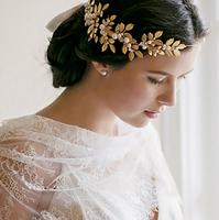 2015 New Fashion Classic Golden leaf bridal tiaras Pearl handmade headband best gift for bride wedding hair accessories