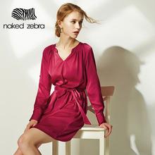 Naked Zebra 2016 Woman Clothing Pure Color V-Neck Adjusted Long Sleeve Short Dress Belt Exquisite Dress Elegant Ladies Dresses(China (Mainland))