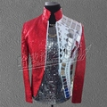 S 5XL The new mirror sequins costumes sequined jacket zipper cultivate one s morality evening male