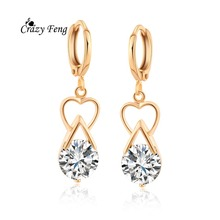 1pair=2pcs 18K Gold Plated Earrings Fashion Wedding Ear Jewerly AAA Cubic Zirconia Drop Dangle Earring Female Simple Style(China (Mainland))