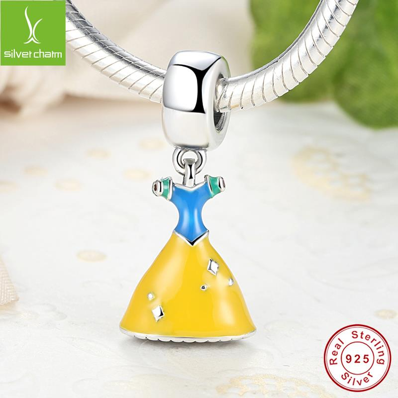 Genuine 925 Sterling Silver Snow White's Dress Charm Fit Original Pandora Bracelet Necklace For Women Authentic Jewelry Gift(China (Mainland))