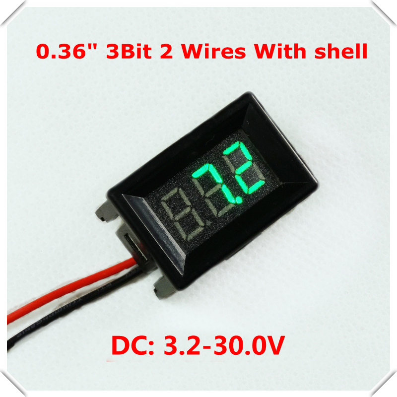 RD With Shell 0.36 Digital Voltmeter DC 3.2-30V 2 wires 3Bit Voltage Panel Meter led Display Color: Green [10 pieces / lot](China (Mainland))
