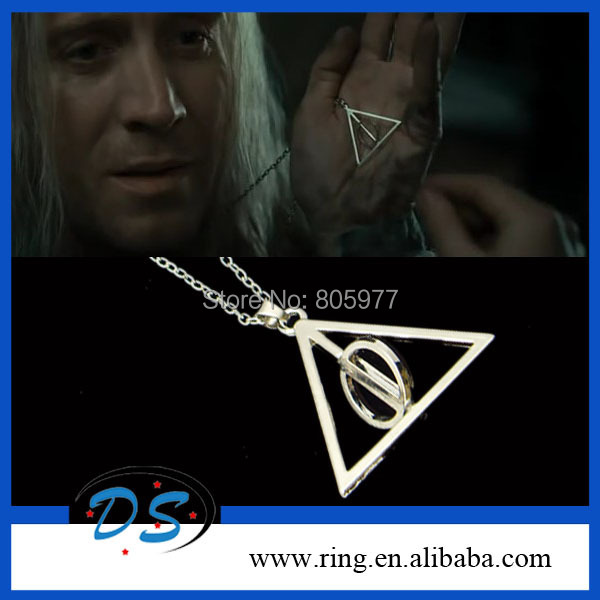 2014 Fashion  Popular Vintage Retro Silver Plated Harry Potter Deathly Hallows Necklace Triangle Rotating Pendant