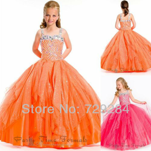 Ball Gown Rhinestone Sequin Puffy Wedding Girl Pageant Cheap Girls Dresses Kids Dress For Flower