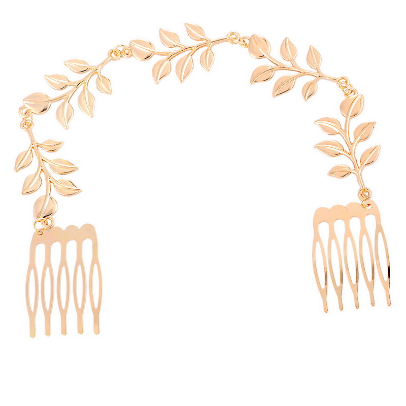 New Golden Color Comb Design Headpieces Leaves Chain Hair Accessories 1PC Fashion Women Beauty Accessories(China (Mainland))