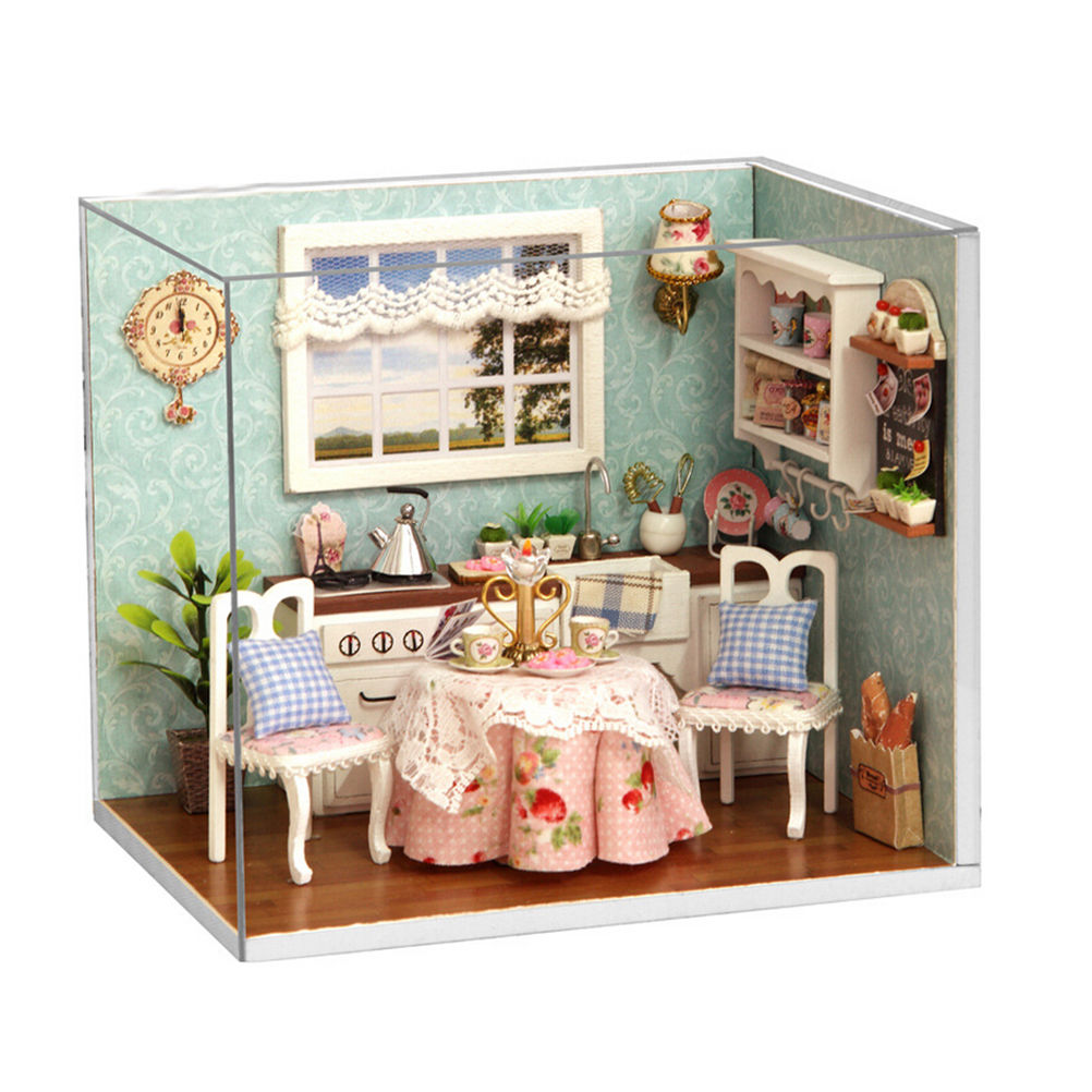 Diy Mini Wooden Handmade Dollhouse Cute Miniature Kitchen Model With