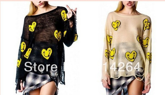 Womens Ladies Loose Hollow Smile Print Hole Knited Cardigan Jumper Sweater Tdl    free shipping