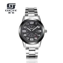 2016 GuoTe Hot Sale Stainless Steel Men Watch Mens Fashion Arabic Number Dial Sport Quartz Watch Boutique Gift Wristwatch Reloj(China (Mainland))