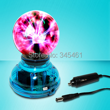 4pcs/lot Novelty Lighiting-USB magic ball Glass static Plasma Ball Sphere induced Lighting +USB cable+audio control magic light(China (Mainland))