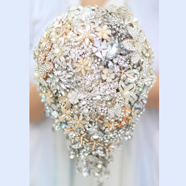Bridal Bouquet Made Of Jewels : Bride drop brooch bouquet custom made wedding ivory gold