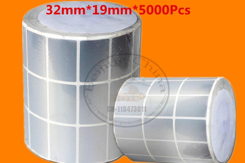 Thermal transfer bar code label printers blank paper tags matte silver PET handmade sticker 32 * 19mm * 5000Pcs(China (Mainland))