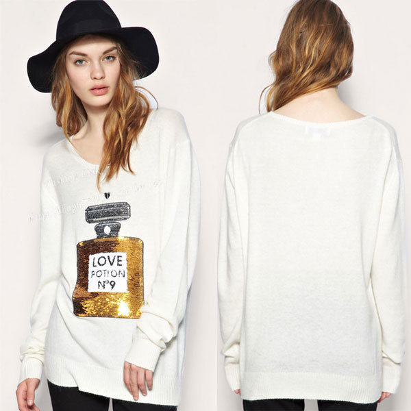 Spring Long Sleeve Sweater Women Handmade Knit Love Potion 3d Perfume Bottle Sequin Casual White Black Tops Shirt Loose Sweater(China (Mainland))