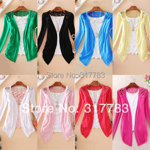 Free Shipping 8 Candy Color Women's Fashion Lace long sleeve hollow out cardigan bottoming shirt lady's sweater/knitwear(China (Mainland))