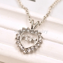 10pcs wholesale Alloy Clear Crystal Heart Charm Letter Mom Pendant Necklace Jewelry Mother's Gift(China (Mainland))