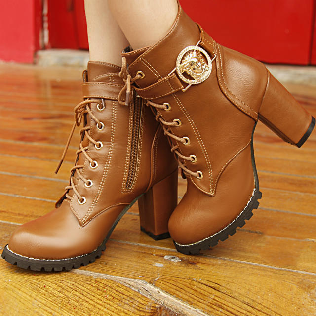 Гаджет  New 2015 Brand Metal Buckle Leather Motorcycle Boots Women Ankle Boots High Heels Shoes Woman Lace up Booties Prices in euros None Обувь