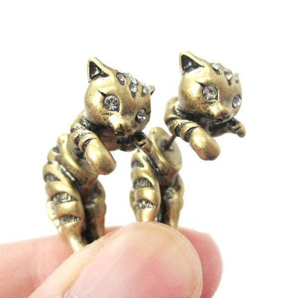 2015 New Adorable Kitty Cat Aniaml Themed Two Parts Women Stud Earring in Bronze and Anique Silver ED085(China (Mainland))