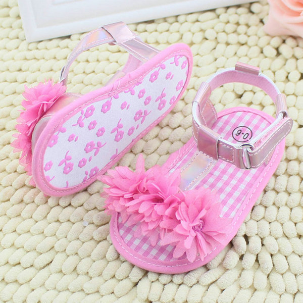 New Baby Girl Floral Summer Crib Soft Sole Non-slip Princess Shoes First Walkers