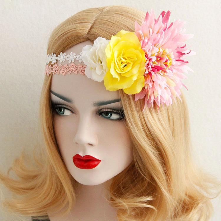 Women Headband 2016 Boho Wedding Artificial Flower Crown Pink White Lace Hair Garland Wreath Bridal Elastic