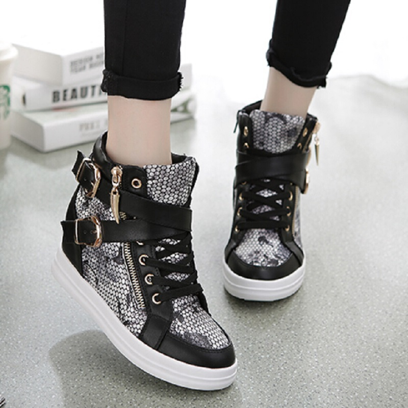 Women Boots Mixed Colors Wedge Concealed High Top Platform Casual Shoes Woman Ankle Lace-Up Heel - Love shoes WOMEN+MEN store