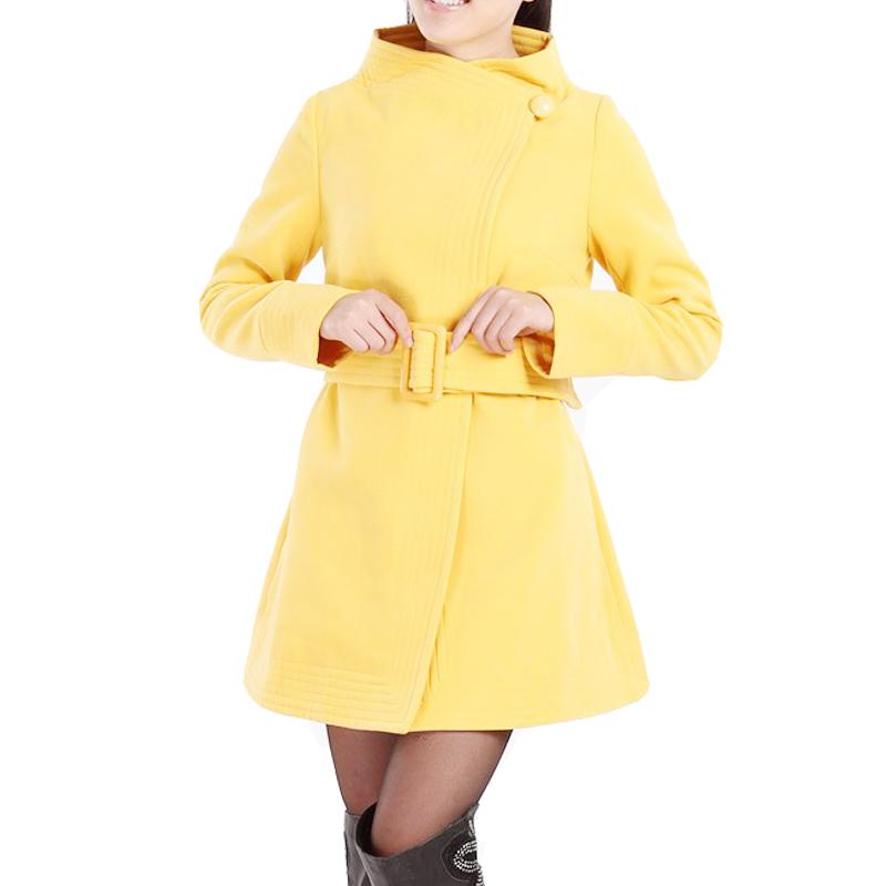 Elegant Fashion Solid Black Yellow Red Womens Winter Coats Belt Button Wool  Flare Dress Overcoats Casacos De La FemininoОдежда и ак�е��уары<br><br><br>Aliexpress