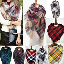 2015 Fashion Women Blanket Oversized Tartan Scarf Wrap Shawl Plaid Cozy Checked Pashmina(China (Mainland))