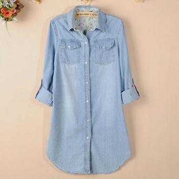 Бесплатная доставка 2015 женщины блузка весна осень свободного покроя рубашки с длинным рукавом джинсовой blusas хлопок джинсы рубашка свободного покроя женщины топы рубашка