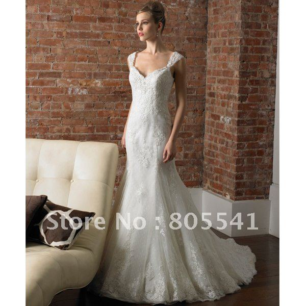 Free shipping best selling mermaid cap sleeve lace wedding for Best selling wedding dresses